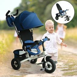 Qaba 2-in-1 Baby Toddler Tricycle Trike Stroller Steel Frame