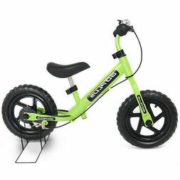 "12"" Green Kids Balance Bike Children Boys & Girls with Brake"