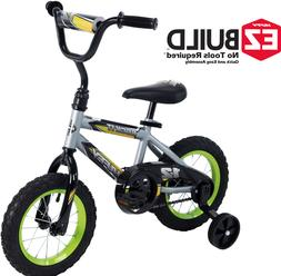 12 Inch Silver Bikes for Boys 3-5 Years Kids Green Huffy Bic