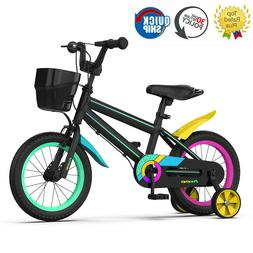 14 16 18 Inch Kids Bike Black For Boys Girls Ages 3-10 Toddl