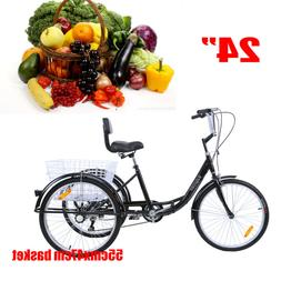 24Inch Adult Tricycle 3-Wheel Shimano 7 Speed Bicycle Trike