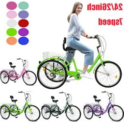 16/20/24/26inch 3Wheel Bike Trike Adult Tricycle 1/7Speed W/