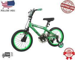 "DYNACRAFT 16"" GREEN INVADER BOYS BIKE W/ TRAINING WHEELS"