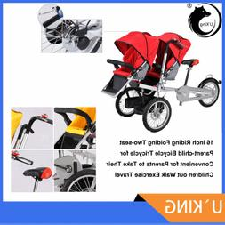 16 Inch Riding Folding Two-seat Parent-child Bicycle Tricycl