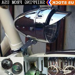 Chrome Bright LED Vintage Bike Retro Bicycle Headlight Front