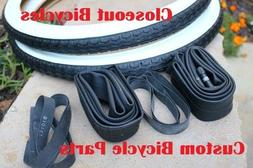 """2 BICYCLE TIRES/TUBES/STRIPS 20"""" x 1.75""""  WHITE WALL LOWRIDE"""