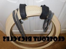 """2 DURO Cream Diamond Tires Tubes/RIM STRIPS 26"""" x 2.125"""" Bea"""
