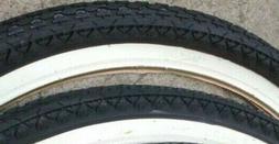2 Wanda Black & White Heavy Duty Beach Cruiser Tires, 26 inc