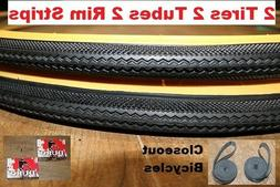"2-Pack Duro Gumwall 27x1-1/4"" Road Bike Tires Tubes & Rim St"
