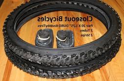 2-Duro Raiders KNOBBY Tires/Tubes/Strips Dirt Off Road BMX b