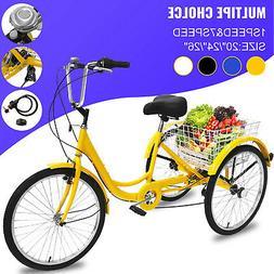 "20/24/26"" Adult Tricycle 1/7 Speed 3-Wheel Adult Bicycle Tri"
