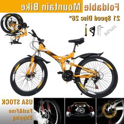 "26"" Folding Mountain Bike 21Speed Full suspension Mens MTB D"