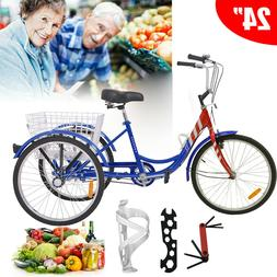 20/24/26 inch Single 7 Speed Adult Tricycle Wheel Bicycle Tr
