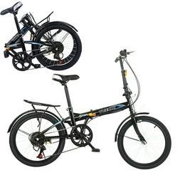 "20"" Folding 7-Speed City Compact Suspension Bike Bicyc"