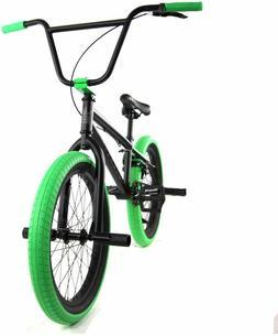 "Elite BMX 20"" Bike Stealth Freestyle Black Green NEW 2020"