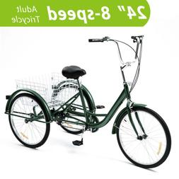 24 Inch Trike 8 Speed Adult Tricycle 3-Wheel Bike w/Basket f