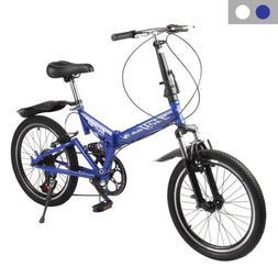 "20"" Lightweight Aluminum Folding Bike Foldable Bicycle, Rack"
