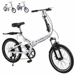 "20"" Folding Bike Mountain shock-absorbing Bike 6 Speed Bicyc"