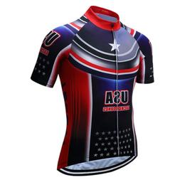 Summer Men's USA Cycling Jersey Short Seeve Shirt Bike Bicyc