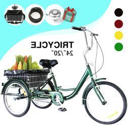 """24""""/20"""" Adult Tricycle 3-Wheel Trike Cruiser Bicycle w/Baske"""