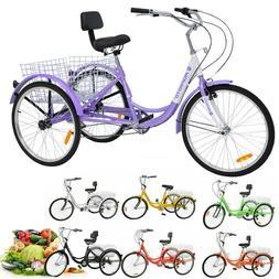 3-Wheels Bike Trike 14/16/20/24/26 inch Kids/Adults Tricycle