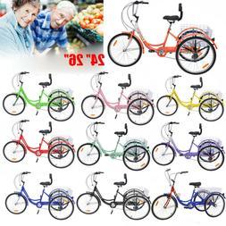 "3Wheel Trike 24/26"" Adult Tricycle 1/7-Speed Shimano Unisex"