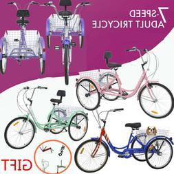 "24"" 7-Speed 3Wheel Cruiser Tricycle Bike Adult Height 5'3''-"