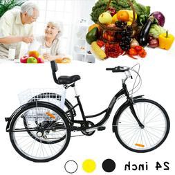 """24"""" Adult 3 Wheel Bicycle Bike Tricycle 7 Speed Basket Cruis"""