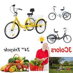 Ridgeyad 24 Adult Tricycle 3-Wheel 7 Speed Bicycle Trike Cru