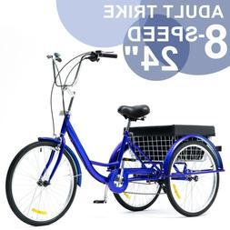 24 Inch Trike 8 Speed Adult Tricycle 3-Wheel Blue Bike w/Bas