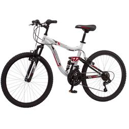 "24"" Mongoose Ledge 2.1 Boys Mountain Bike, Silver/Red, Steel"