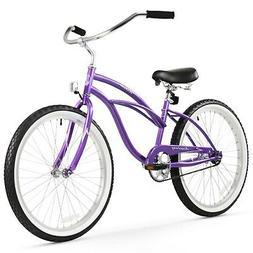 Girl's 24 Urban Lady Beach Cruiser Bike, Purple