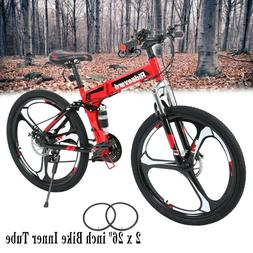 "26"" 21 Speed Folding Mountain Bike Full Suspension Bicycle M"
