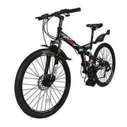 "Xspec 26"" 21-Speed Folding Mountain Bike for Adult 26"" Black"