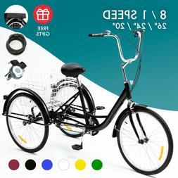 "26""/24""/20"" 1/8 Speed Adult Tricycle 3-Wheel Bike w/Basket f"
