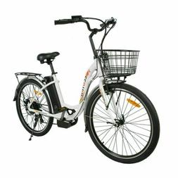 "26""36V 10AH 350W City Electric Bicycle e-bike White with Bas"