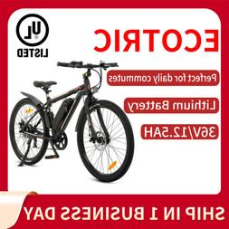"26"" 36V 350W Black Electric City Bicycle e-Bike Shimano 7 sp"