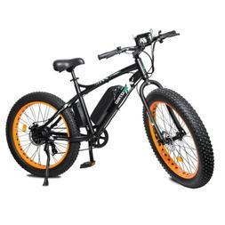 "26"" 500W Orange Fat Tire Electric Bicycle Mountain Snow Beac"