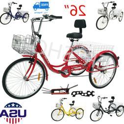 """24""""/26"""" 7-Speed  Adult 3-Wheel Tricycle Trike Bicycle Bike C"""