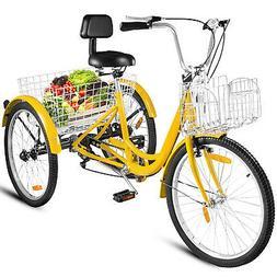 "26"" Adult Tricycle 3-Wheel Shinmo 7 Speed Bicycle Trike Doub"