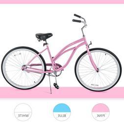 "26"" Classic Girl's Beach Cruiser Bike Single Speed Road Bicy"