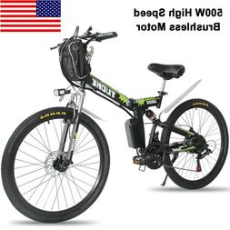 "26"" Electric Folding Bike Mountain Bicycle EBike SHIMANO 21S"