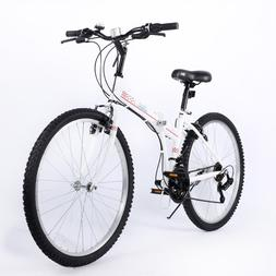 26'' Folding Bike White 21 Speed Steel Bicycle V-brake