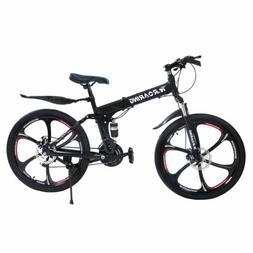 "26"" Folding Mountain Bike Adjustable 21 Speed Bicycle Suspen"