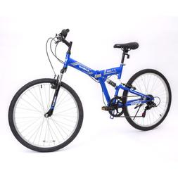 "26"" Folding Mountain Bike Hybrid Bike Shimano & Full Suspens"
