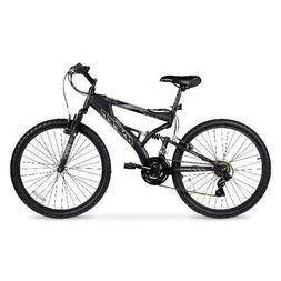 """HYPER 26"""" Havoc Men's Mountain Bike Black 21 Speed Full Susp"""