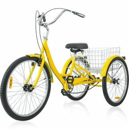 26 Inch 3-Wheel Bike Adult Tricycle Trike Bicycle Cruise W/