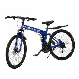 26 inch Full Suspension Mountain Bike 21 Speed Folding Bicyc