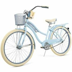 "Huffy 26"" Nel Lusso Womens Cruiser Bike with Basket Blue"