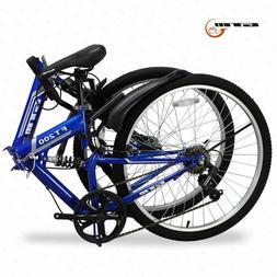 "26"" Sport Folding Blue Mountain Bike 7 Speed Folding Bicycle"